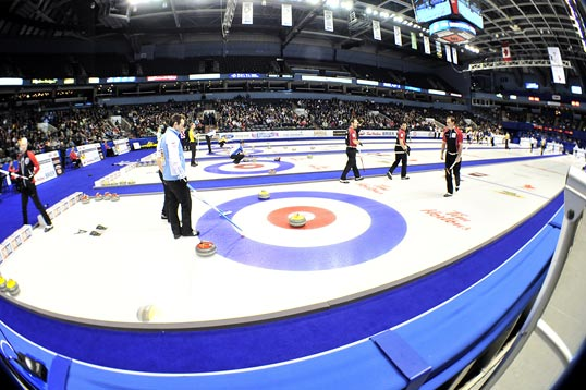 Curlers playing a game