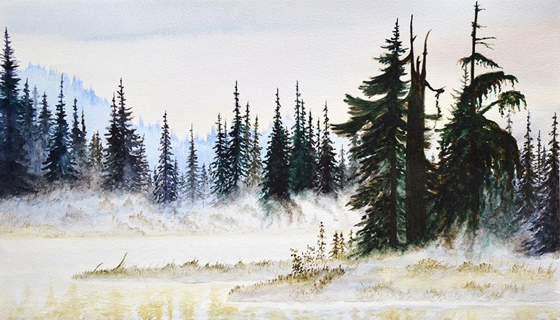 Acrylic Art Class Foggy Forest
