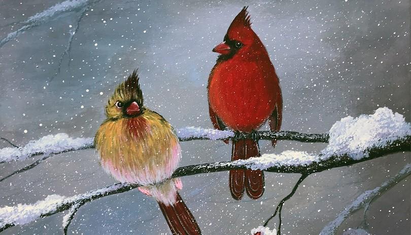 Acrylic Art Class Two Cardinals