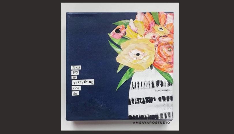 Mixed Media Art Class - Flower Vase