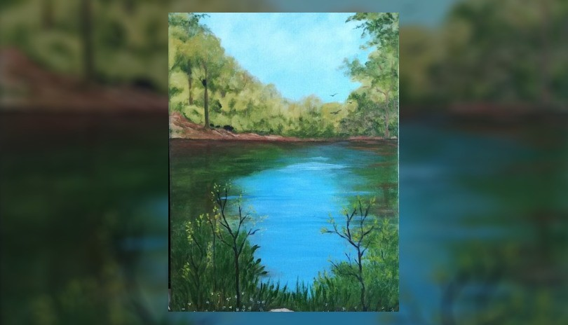 Virtual Acrylic Art Class: Westminster Pond