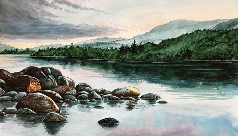 Watercolour Art Class River Rocks