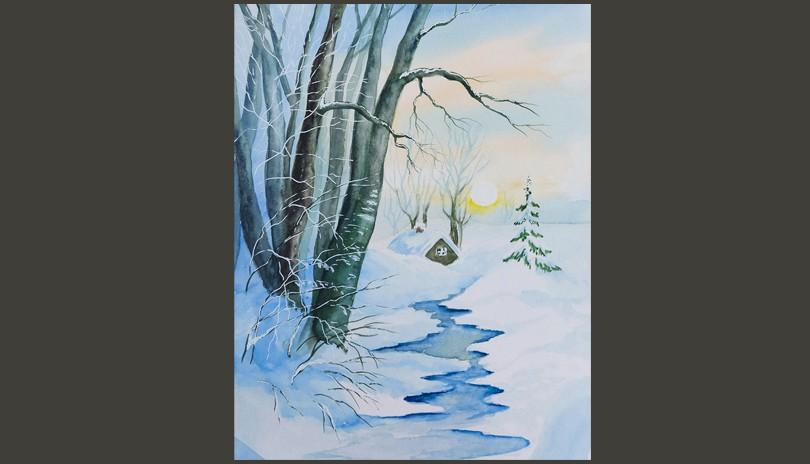Watercolour Art Class - Snowy Winter