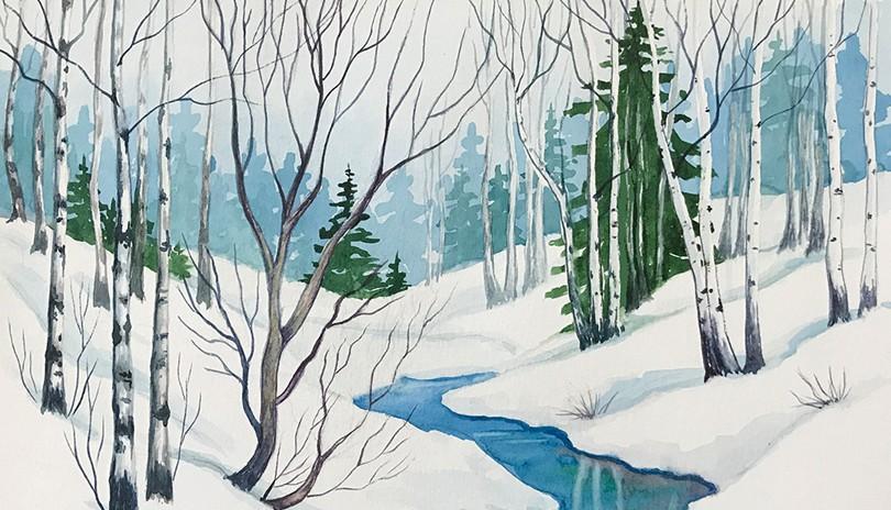 Watercolour Art Class - Winter Creek
