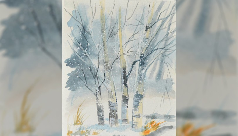 Watercolour Art Class In the Birch Grove (Greeting Card)