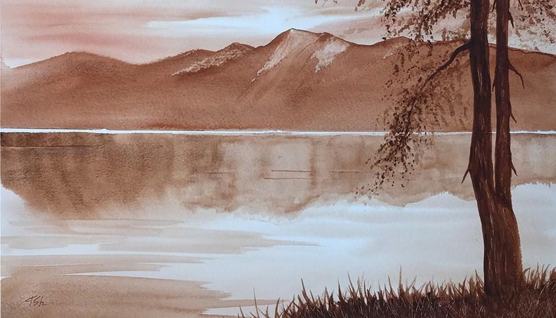 Watercolour Art Class One Colour Landscape
