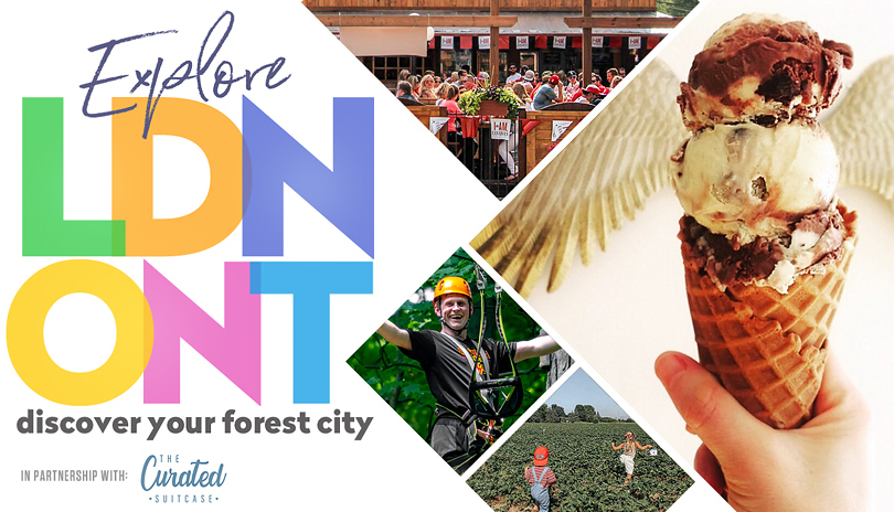 Explore LDN ONT - Discover Your Forest City image montage of a person holding an ice cream cone from Haven's creamery, people sitting at Barney's patio, a man waving from The Treetop Adventure Park at Boler Mountain and two children running in a strawberry field at Heeman's