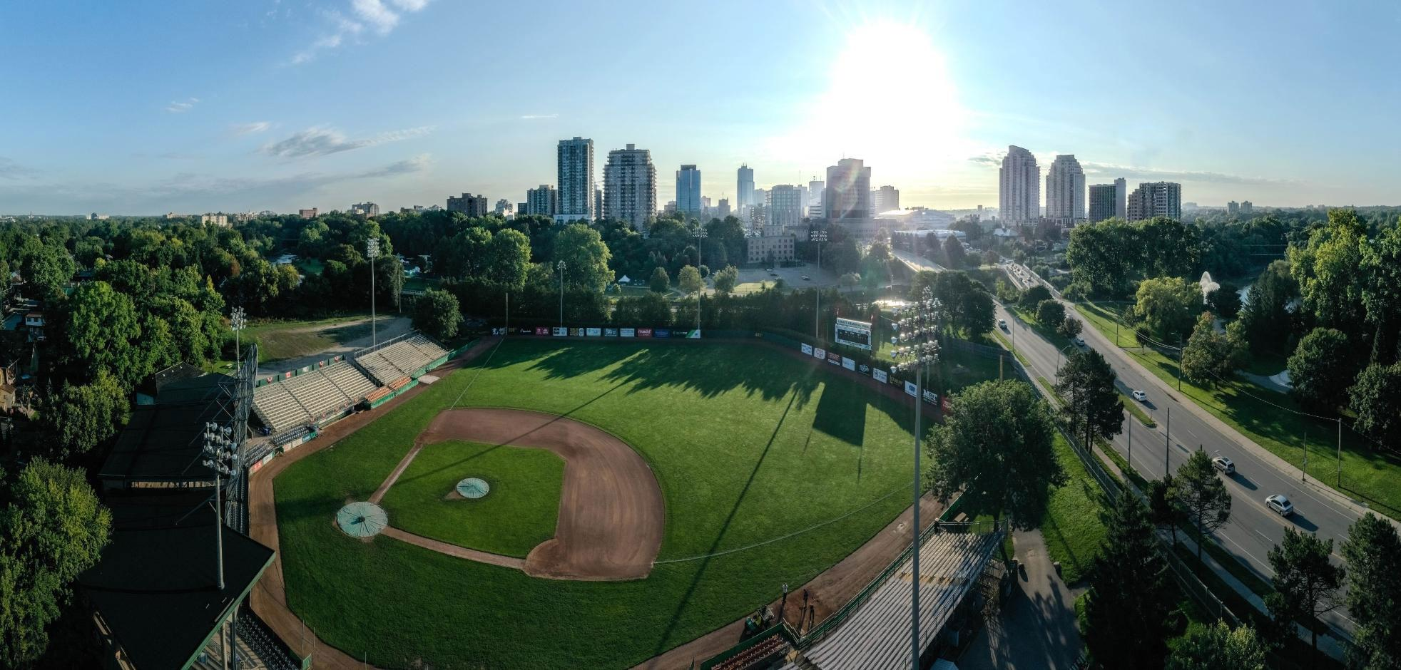Aerial view of Labatt Memorial Park in London, ON