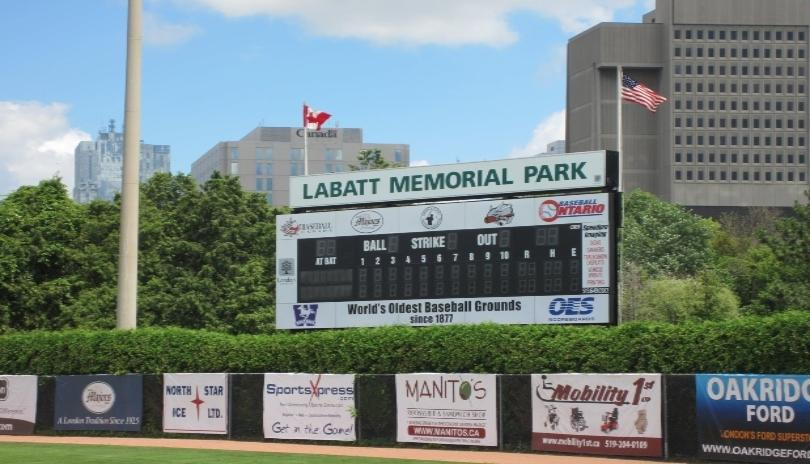 The Scoreboard at Labatt Memorial Park in London, ON